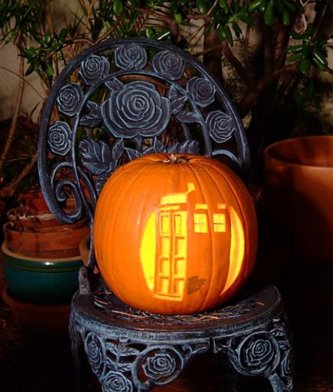 carved Tardis pumpkin for Doctor Who fans