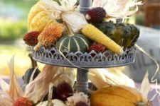 34 harvest two-tiered centerpiece with veggies from the garden