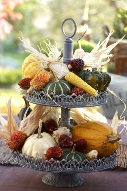harvest two-tiered centerpiece with veggies from the garden