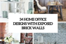 34 home office designs with exposed brick walls cover