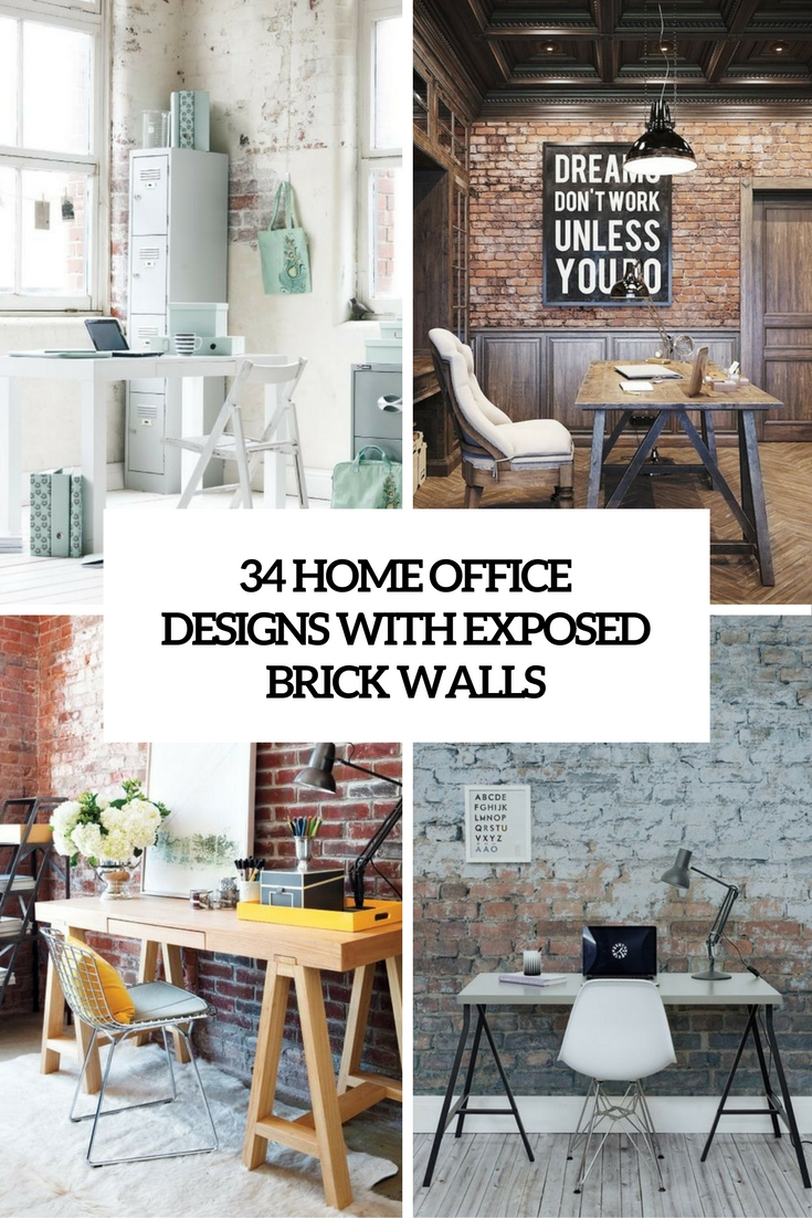 34 Home Office Designs With Exposed Brick Walls - DigsDigs
