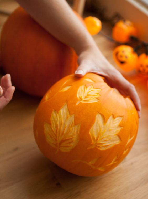 leaf pumpkin create with a lino cutter is a cool fall home decoration