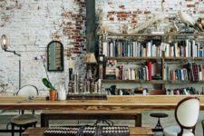 34 real aged brick for an eclectic home office
