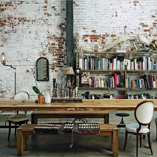 real aged brick for an eclectic home office