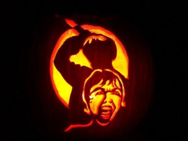 Psycho movie pumpkin carving