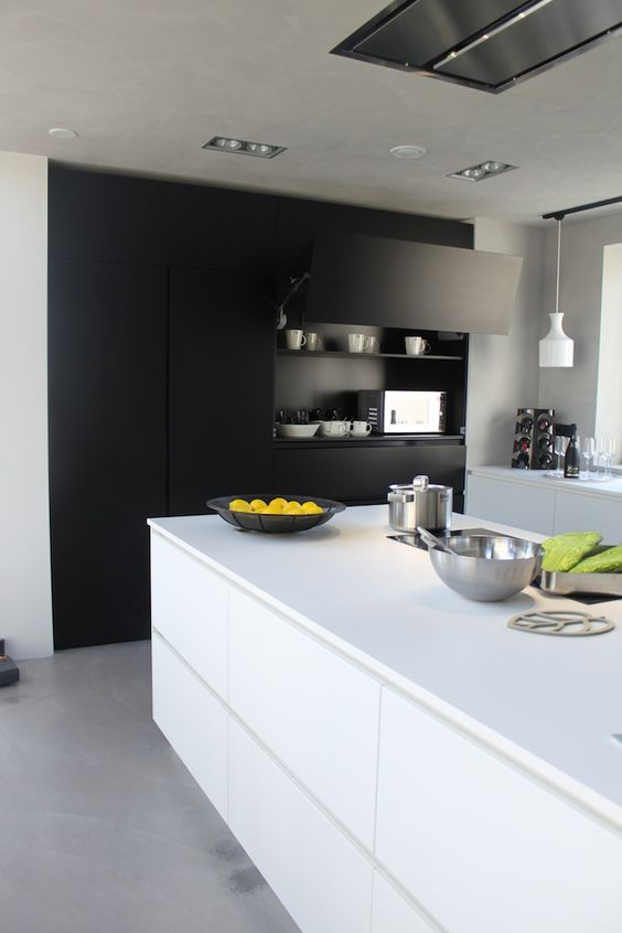 sleek matte kitchen with white functional furniture and black storage
