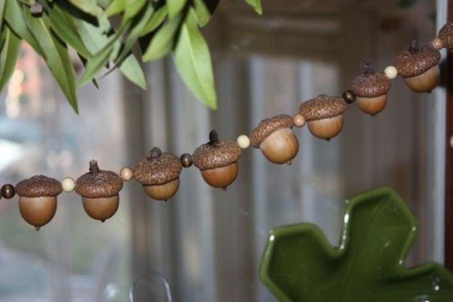 acorn and bead garland