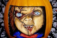 37 Chucky Doll painted pumpkin