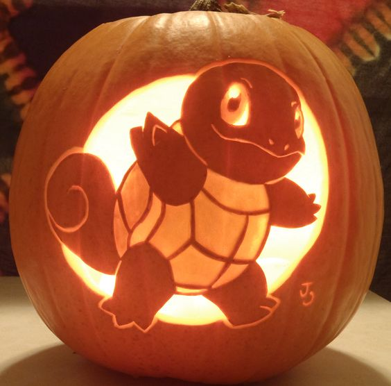 Squirtle pumpkin lantern for Pokemon fans