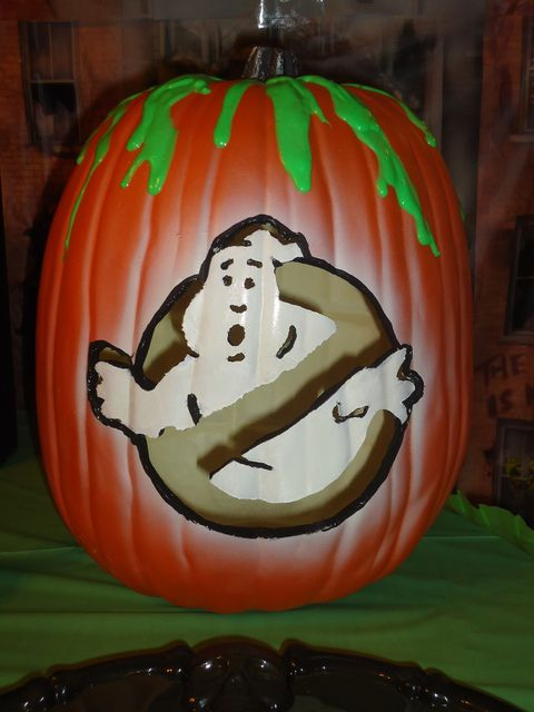 Ghostbusters painted pumpkin is very actual for this holiday