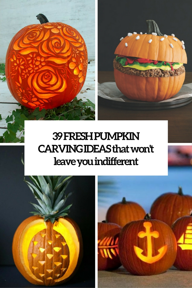 39 fresh pumpkin carving ideas that won t leave you for Different pumpkin designs