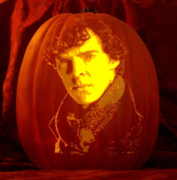 Benedict Cumberbatch as Sherlock Holmes carved on a pumpkin