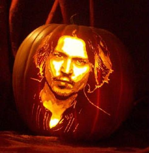 Johnny Depp pumpkin art