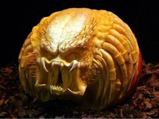 scary Predator carved pumpkin can frighten anyone
