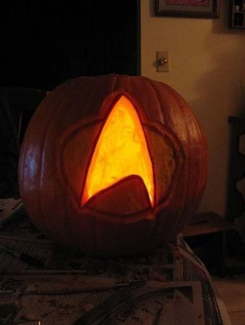 Star Trek sign pumpkin lantern