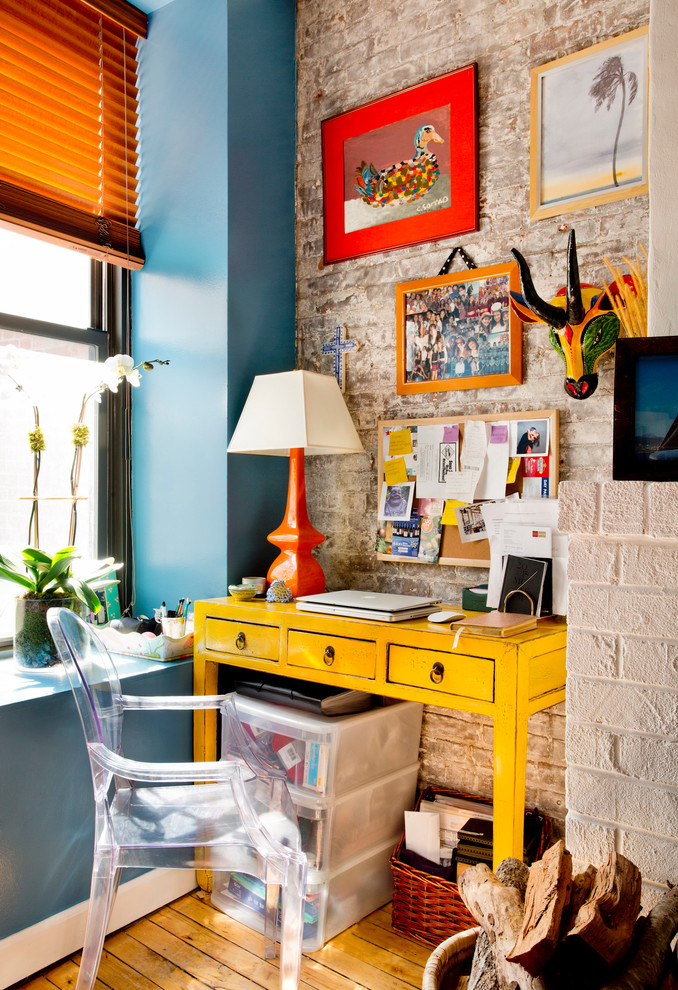 for a feminine office look go with colorful furniture and bright accents (Rikki Snyder)