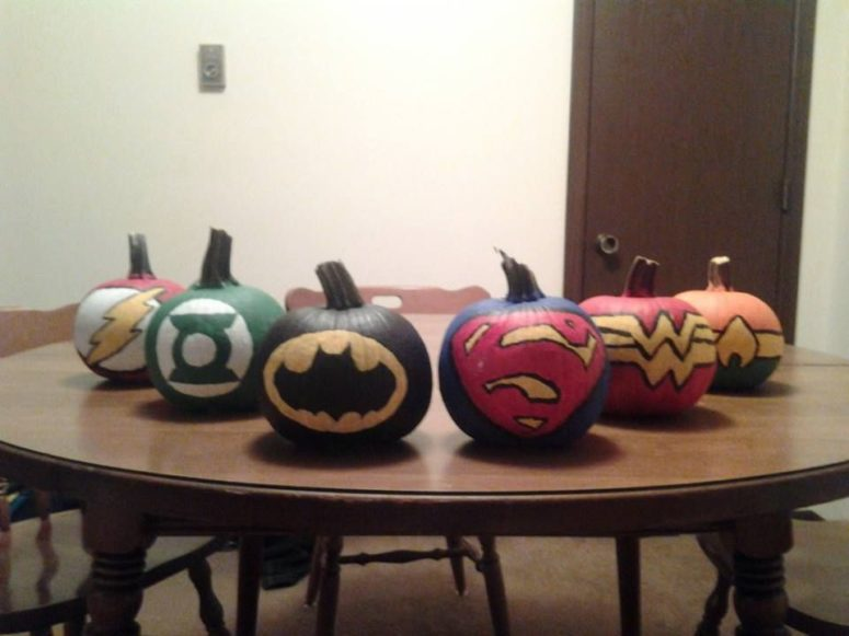 Justice League painted pumpkins could be used as party decorations