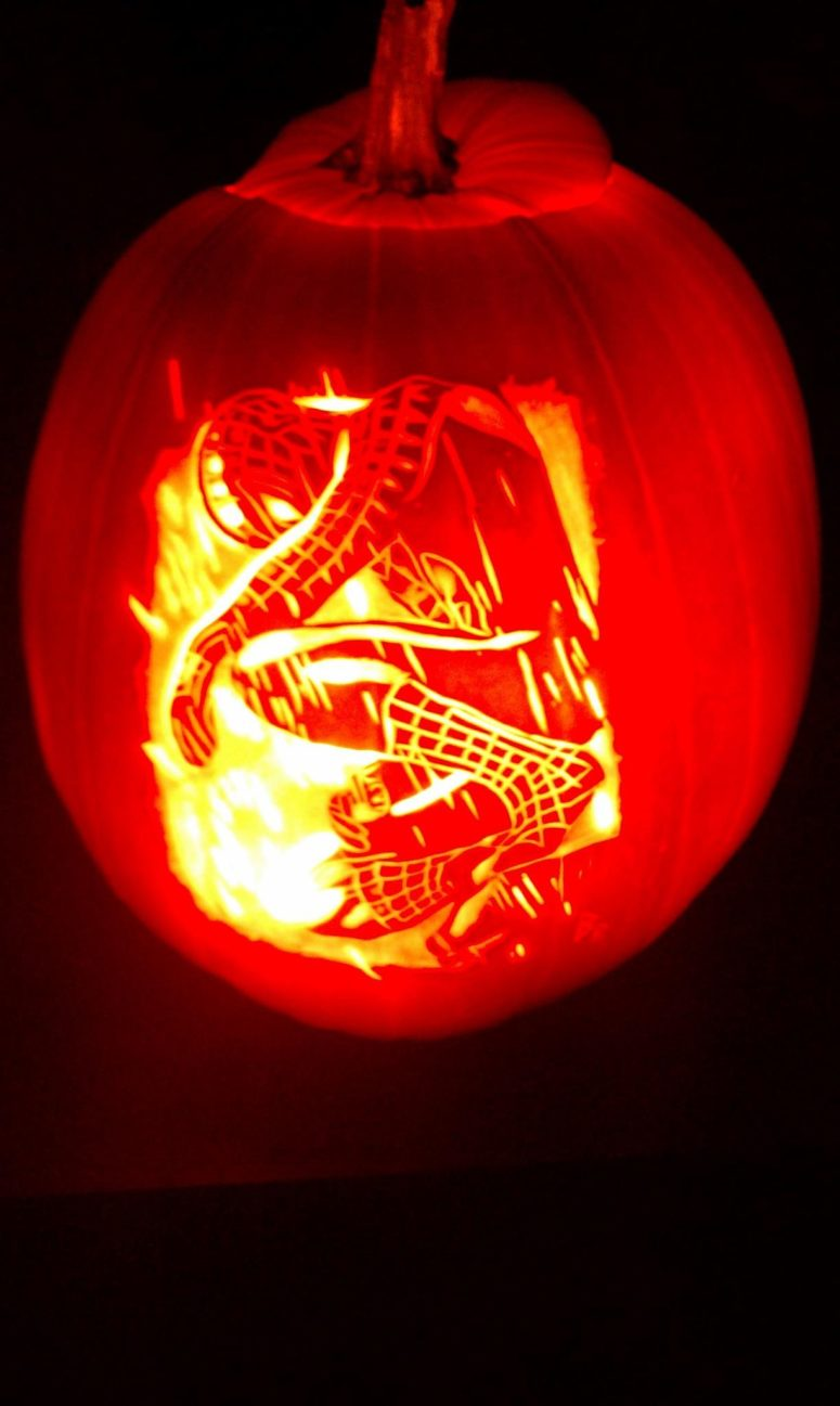 Carved Spiderman pumpkin might become a real piece of art