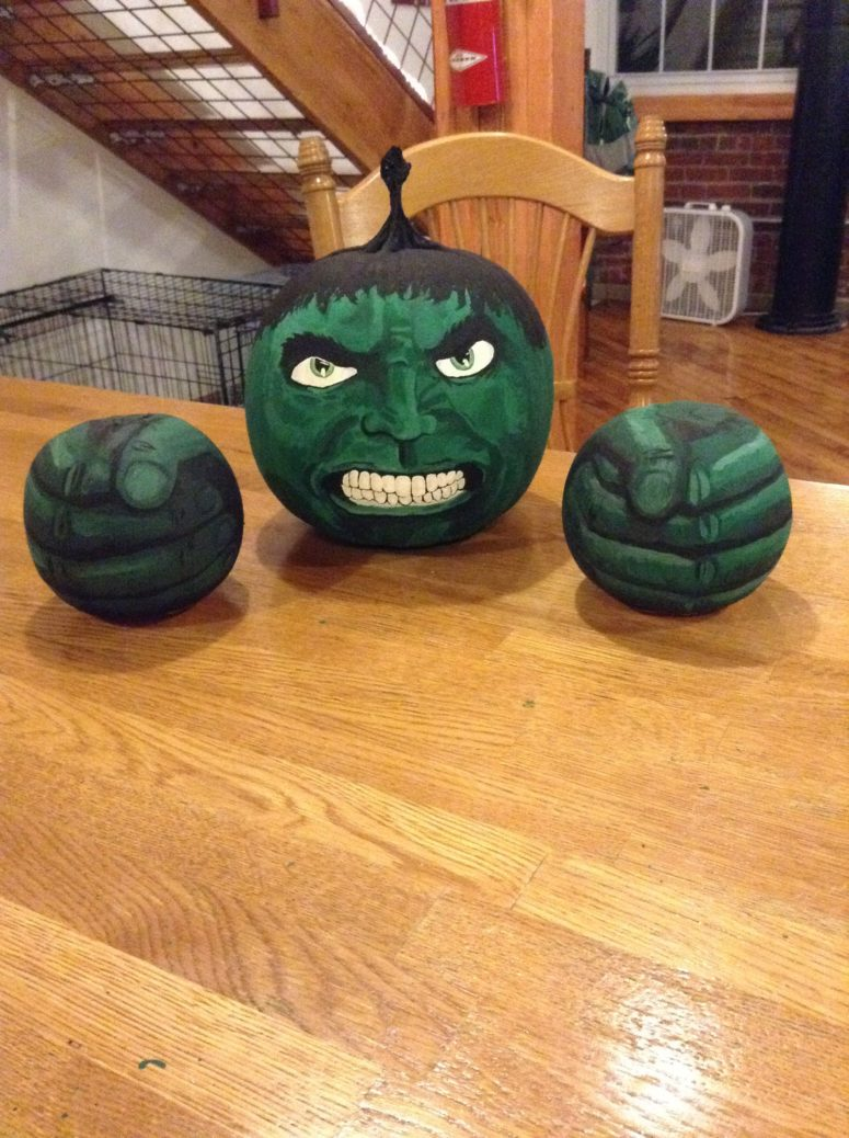 Painted Hulk pumpkins for those who feel angry