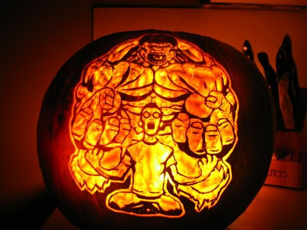 A carved incredible Hulk pumpkin