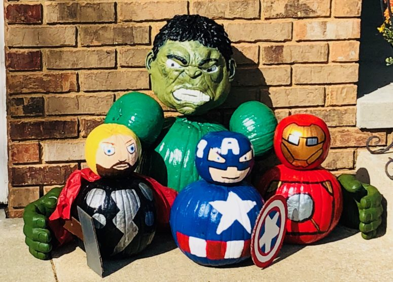 Painted Avengers pumpkins could become a great arrangement for a porch