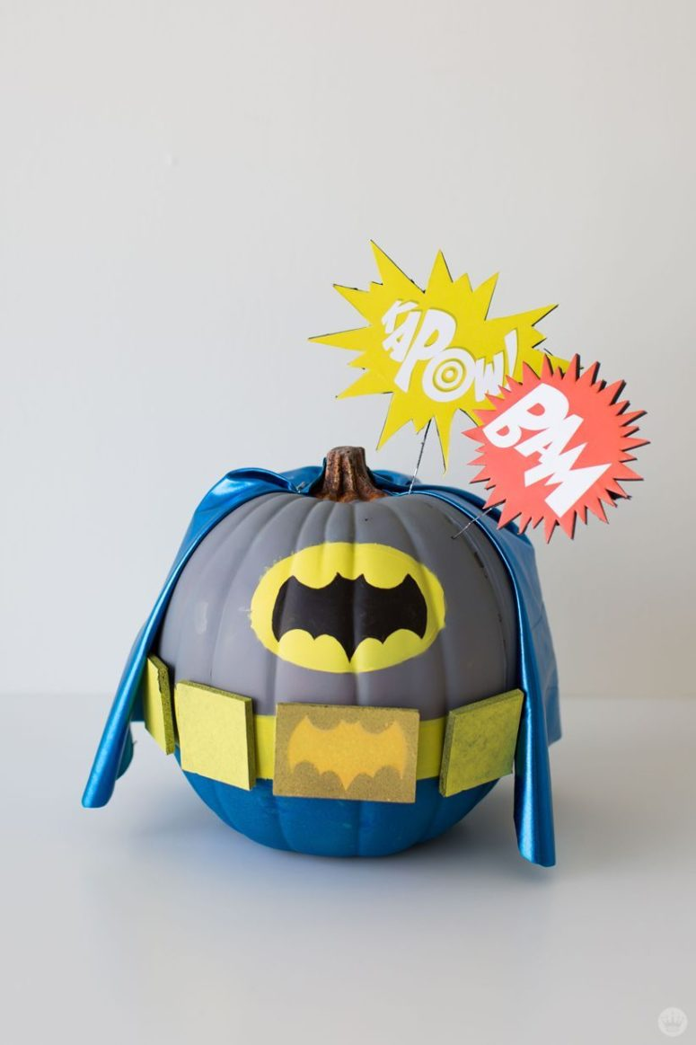 Love Batman? Paint a pumpkin in gray, blue and yellow to resemble his costume from the 1960s tv show.