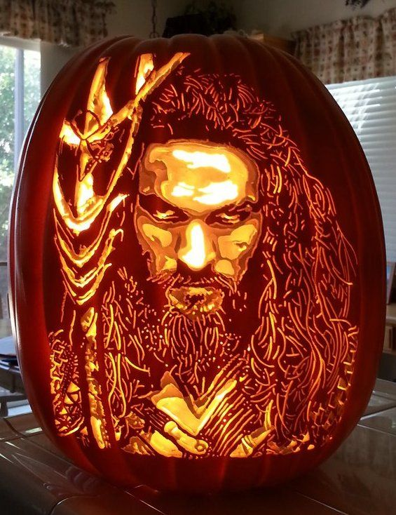 An Aquaman carving for DC fans