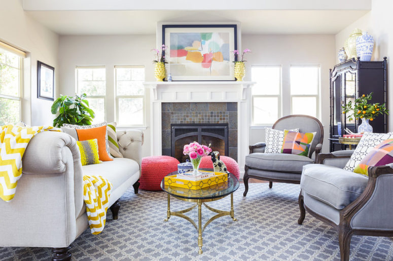 With gray interior you can mix yellow, orange and pink color pops and it'd look great. (Leslie Harris-Keane Interior Design)