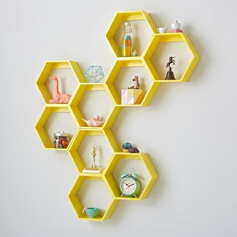 A honeycomb yellow hexagon shelf would look great on a grey wall.