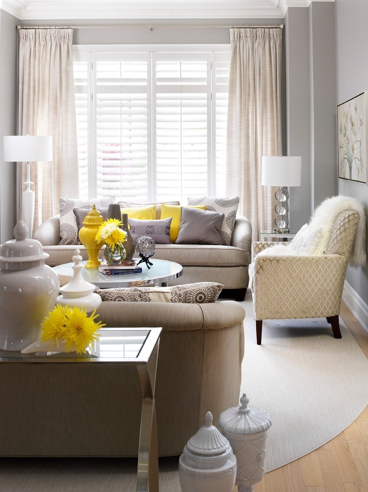 Pops of color line fun sunshine yellow is a great way to make a neutral interior interesting. (Jennifer Brouwer (Jennifer Brouwer Design Inc))
