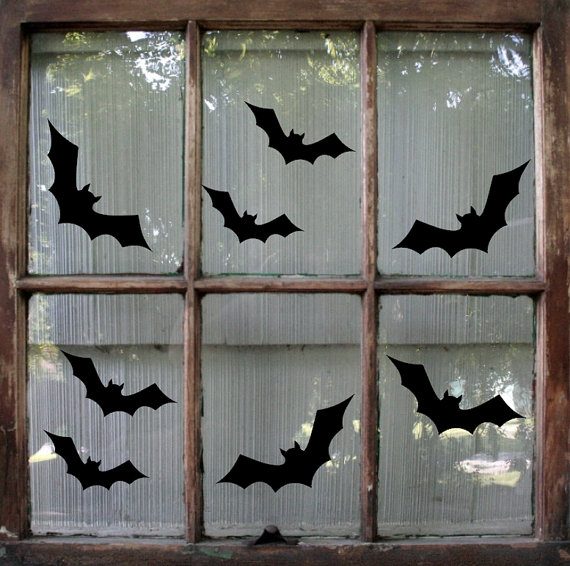 bats are easy to make silhouettes but if you make a bunch of them they would look great on any window