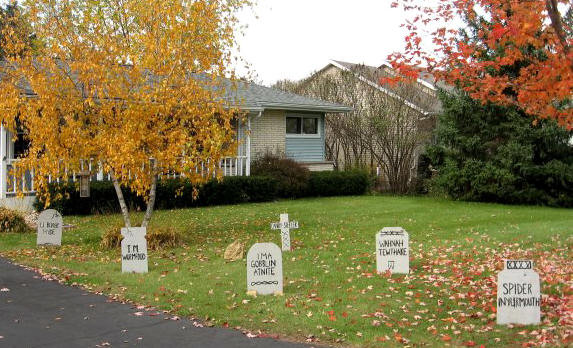 making a bunch of gravestones is an easy and budget friendly project for halloween