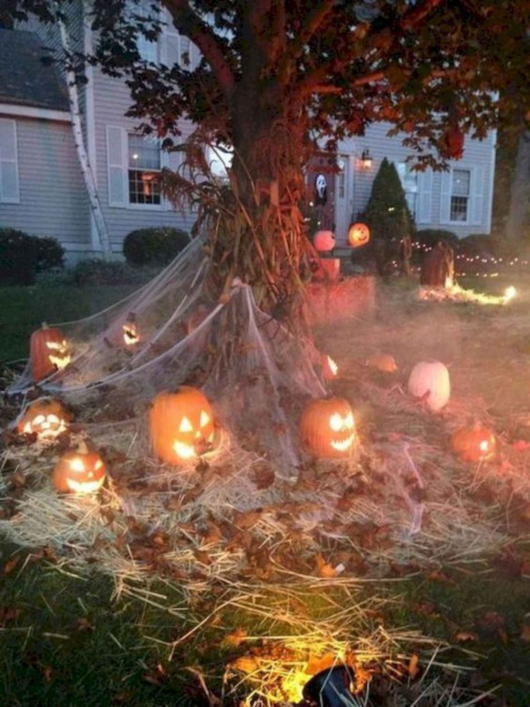 glowing jack-o-lanterns is a cheap diy solution to create some spooky ambience at your front yard