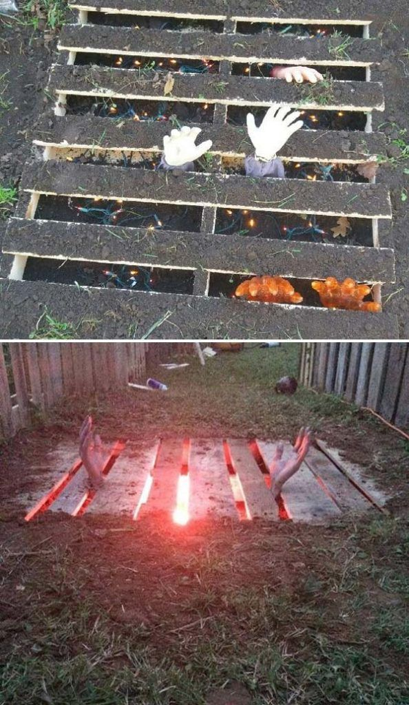 recycled pallets could be used to create a scary grave right by your home