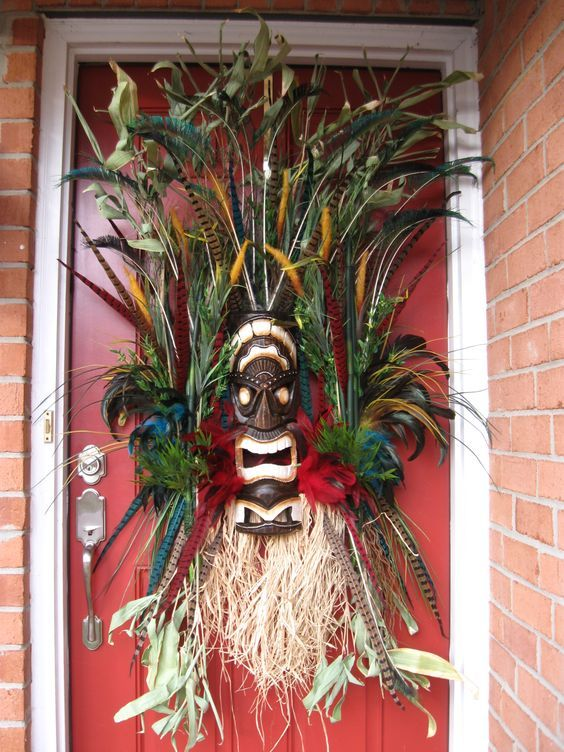tiki masks could be used for Halloween decor too