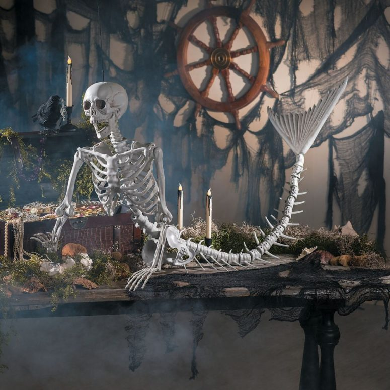 mermaid skeleton would be a great addition to a tropical Halloween arrangement
