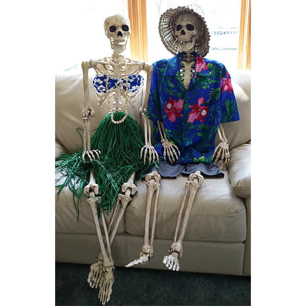 if you have several skeletons dress them in tropical outfits