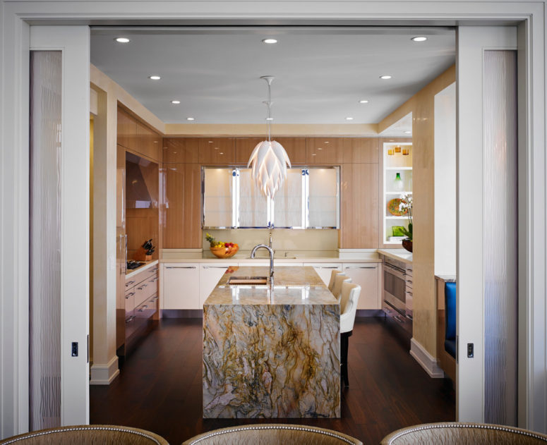 a waterfall countertop could become a centrepiece of a room (Renée Gaddis Interiors)