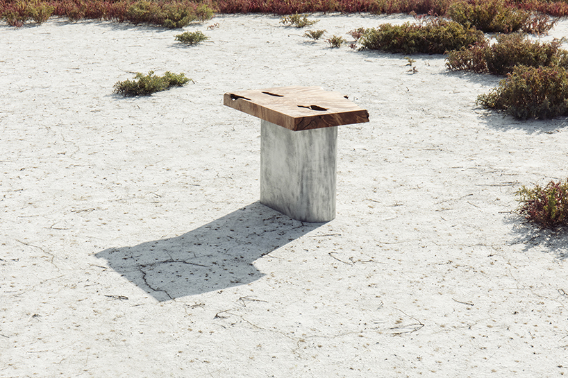Aged Blocks furniture collection is made of two contrasting materials   metal and found wood