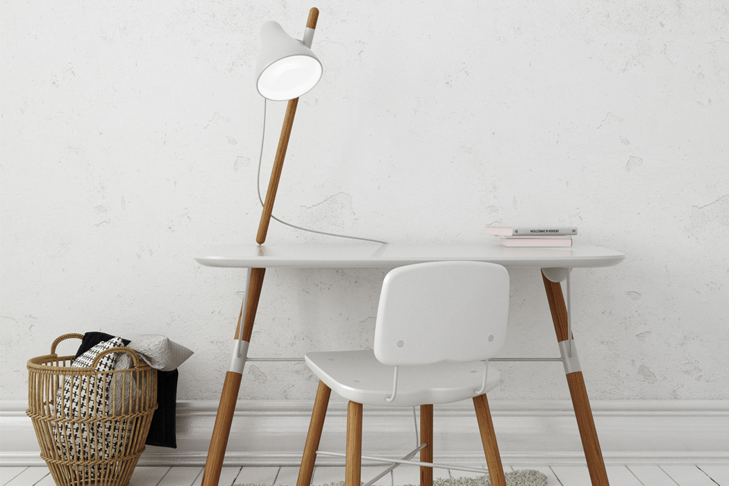 BEA workspace by MONO SOLO Design is space saving because it has just two legs and a dynamic look
