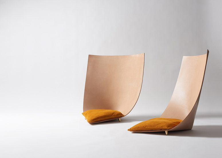 Babu And Clop Chairs Of Natural Leather And With Unusual Shapes