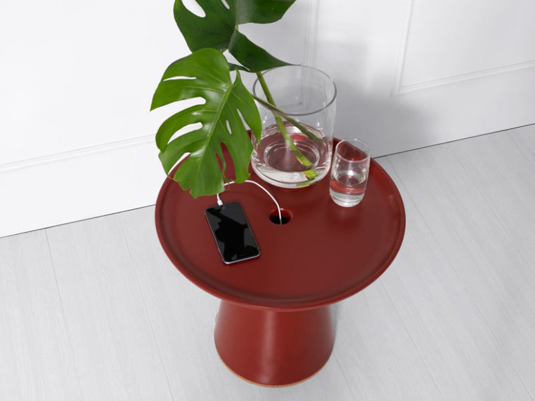 On Side Table That Charges Your Devices
