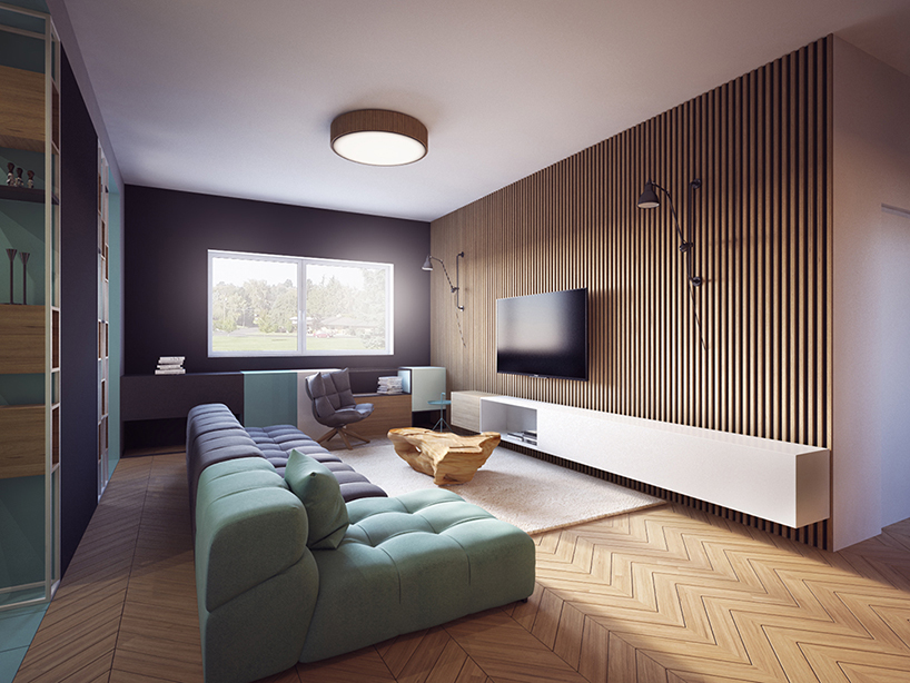 The living room is decorated in pastel tones with a lot of wood