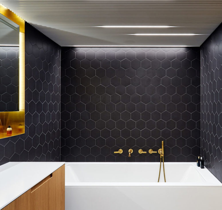 This Modern Bathroom Is Done In Black, White And Brass For An Elegant And  Laconic