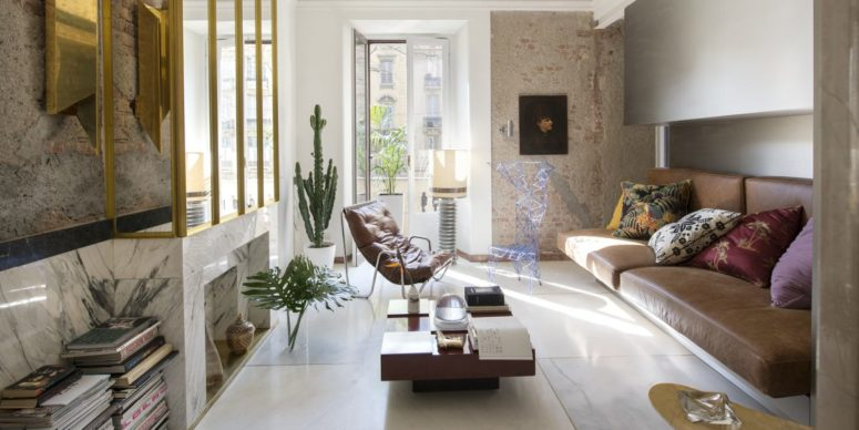 This modern home in Milan strikes with a stylish blends of various parts and details, and it shows how a rock'n'roll retreat can look