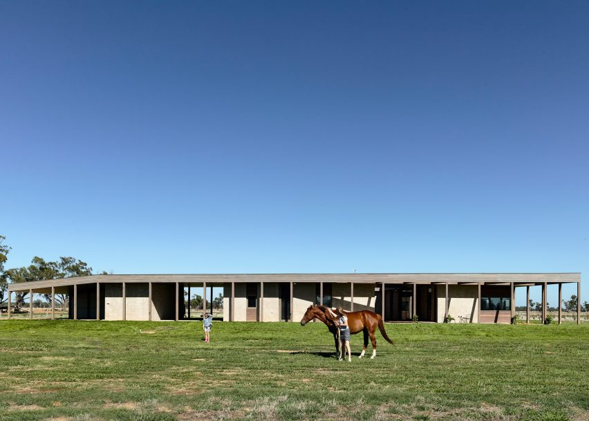 This one storey Australian home features a colonnade and an inner courtyard