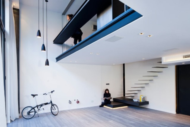 Laconic Apartment With Floating Stairs And A Lot Of Led Lights Digsdigs