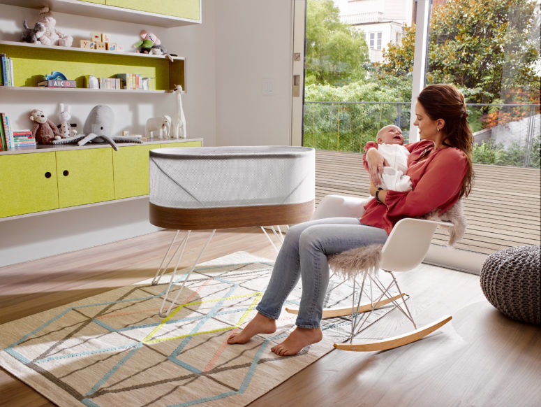 The design is modern and simple to easily blend with any nursery environments