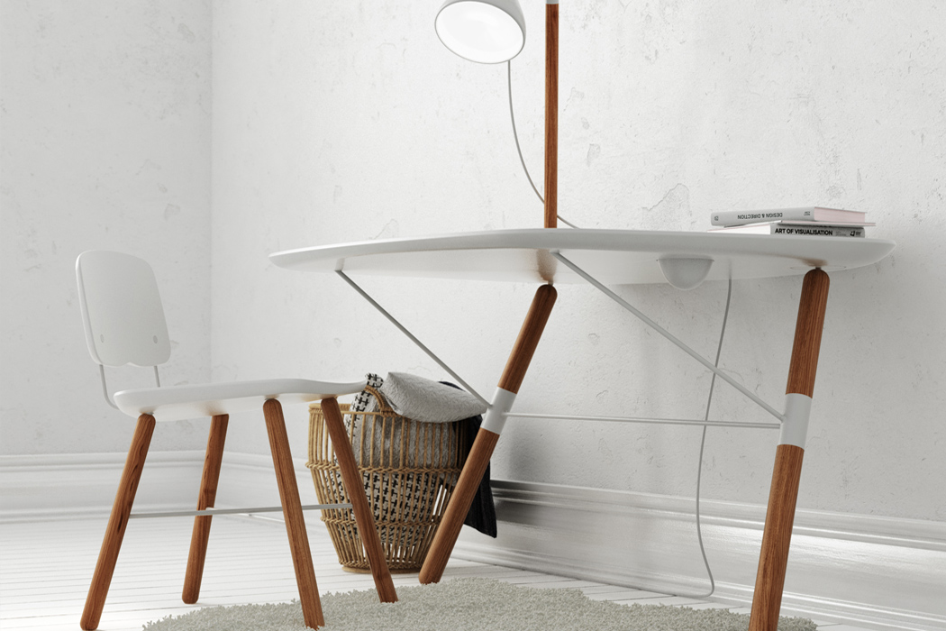 The lamp is attached to the desk top and can swivel as you need