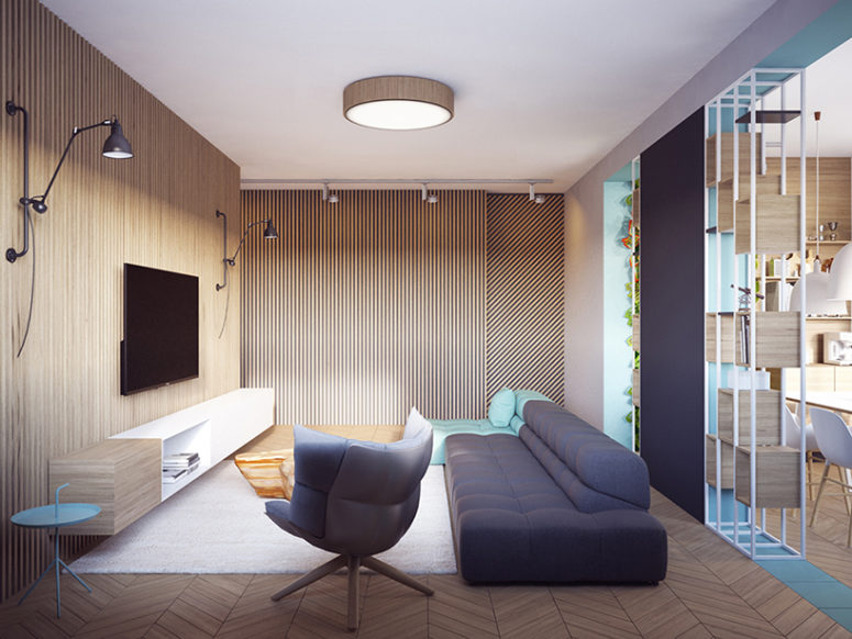 Modern Apartment With Two Zones And Amazing Wood Paneling